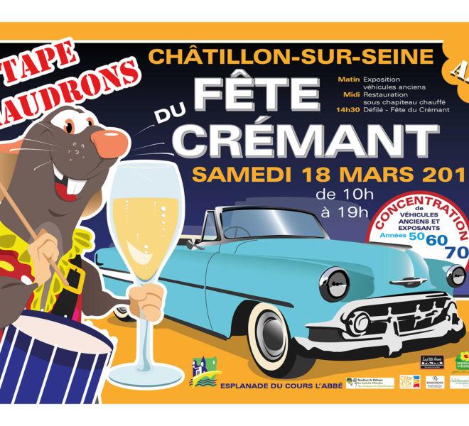 Affiche de la fête du Crémant/Tape Chaudrons à Châtillon sur seine par Kreastyl communication