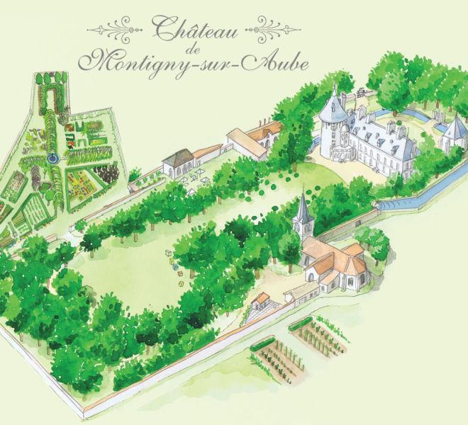 Dessin aquarellé pour le Château de montigny sur aube par Kreastyl Communication