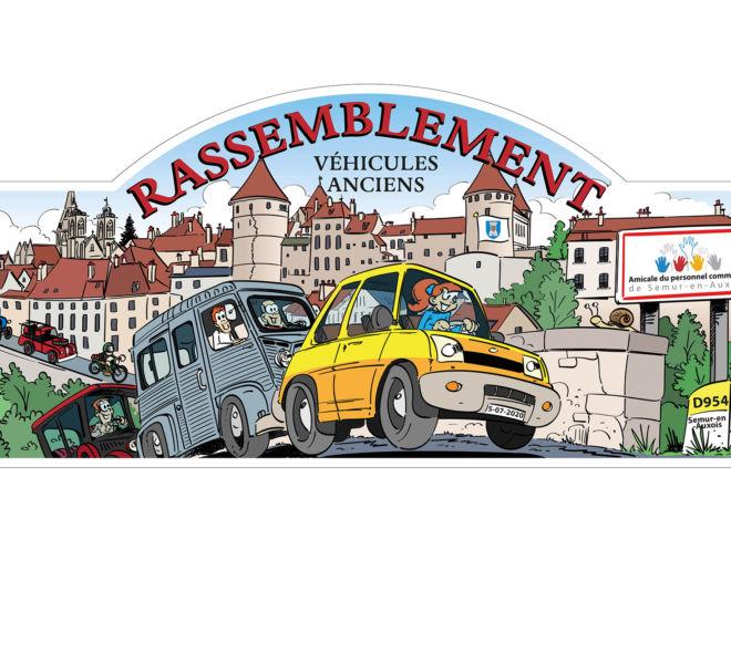 Dessin d'illustration pour rassemblement véhicules anciens par Kreastyl Communication