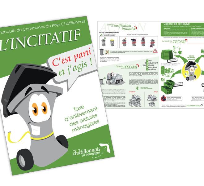 Plaquette pour campagne nouvelle redevance incitative de la communauté de communes du CHâtillonnais par Kreastyl Communication