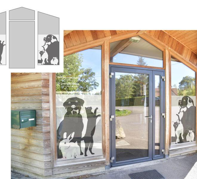 Décoration de vitrine de la clinique vétérinaire de semur en auxois par Kreastyl Communication